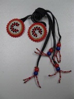 ZSold Navajo Hair Tie: Beaded Rosettes of Orange-Red and White SOLD