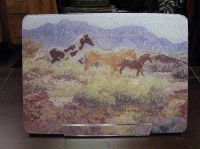 TXLC Custom Tile Cutting Board Horse: Claire Goldrick Horses at Big Wash Special Order