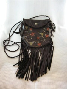 Patricia Wolf Handbag: Longhorns, Stars and Ropes Leather Crockett Pouch w Fringe