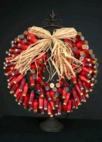 ZSold Decorative Lighting: Shotgun Shell Wreath Red Special Order SOLD