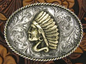 Silver King Buckle: Indian Head Trophy Buckle Special Order