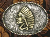 A Silver King Buckle: Indian Head Trophy Buckle Special Order