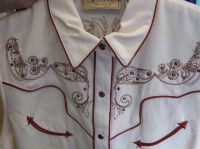 ZSold Scully Ladies' Vintage Western Shirt: Cream with Red Trim SOLD