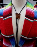 ZSold A Bolo Tie: Howling Wolf Dark Wood SOLD