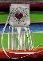 Kippys Pouch Pocket: Heart Design with Fringe