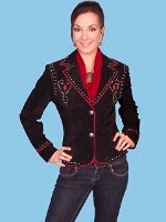 A Scully Ladies' Leather Suede Jacket: Shortie with Nail Head Trim Black M SALE