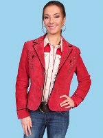 ZSold Scully Ladies' Leather Suede Jacket: Shortie with Nail Head Trim Red M SOLD