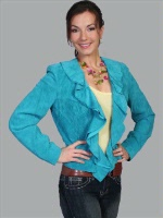 A Scully Ladies' Leather Suede Jacket: Ruffled Short Dark Turquoise XS-2XL