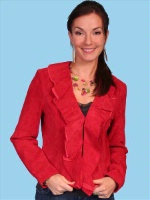 ZSold Scully Ladies' Leather Suede Jacket: Ruffled Short Red XS-2XL SOLD
