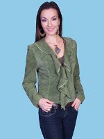 ZSold Scully Ladies' Leather Suede Jacket: Ruffled Short Olive M-L SOLD