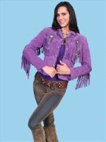 ZSold Scully Ladies' Leather Suede Jacket:Frontier Fringe Grape S-XL SOLD