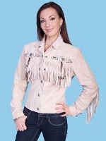 ZSold Scully Ladies' Leather Suede Jacket:Frontier Fringe Sand SOLD