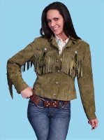 ZSold Scully Ladies' Leather Suede Jacket:Frontier Fringe Olive L-2XL SOLD