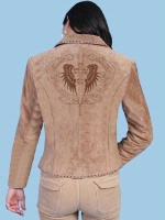 ZSold Scully Ladies' Leather Suede Jacket: Winged Cross Embroidery S-XL SOLD