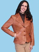 ZSold Scully Ladies' Leather Jacket: Blazer Lamb Cognac S-2XL SOLD