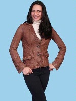 ZSold Scully Ladies' Leather Jacket: Blazer Washed Lamb Rust S-XL SOLD