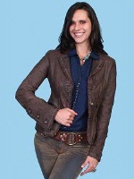 ZSold Scully Ladies' Leather Jacket: Blazer Washed Lamb Chocolate S-XL SOLD