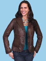 ZSold Scully Ladies' Leather Jacket: Lamb Leather and Lace Chocolate M-XL SOLD