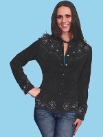 ZSold Scully Ladies' Leather Suede Jacket: Suede Top with Details Black S-2XL SOLD