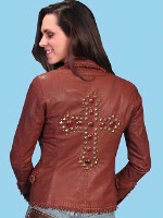 ZSold Scully Ladies' Leather Jacket: Blazer Washed Lamb Rust w Cross M-L SOLD