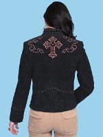 A Scully Ladies' Leather Suede Jacket: Zip Front with Cross Detail Black S-M SALE