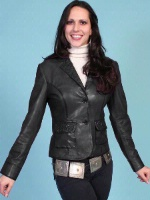 ZSold Scully Ladies' Leather Jacket: Blazer Lamb Embossed Black M-L SOLD