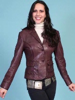 ZSold Scully Ladies' Leather Jacket: Blazer Lamb Embossed Wine S-XL SOLD