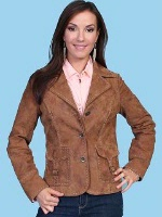 ZSold Scully Ladies' Leather Suede Jacket: Blazer with Pic Stitch Trim M SOLD