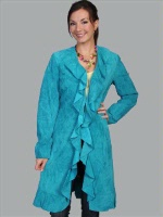 ZSold Scully Ladies' Leather Suede Jacket: Ruffled Dark Turquoise Coat SOLD