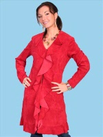 ZSold Scully Ladies' Leather Suede Jacket: Ruffled Red Coat XS-2XL SOLD