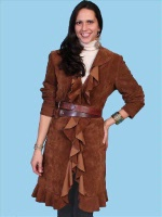 A Scully Ladies' Leather Suede Jacket: Ruffled Cinnamon Coat S-2XL