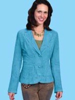 ZSold Scully Ladies' Leather Jacket: Blazer Lamb Unlined Turquoise M SOLD