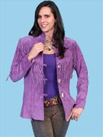 ZSold Scully Ladies' Leather Suede Jacket:Flirty Fringe Grape S-L SOLD