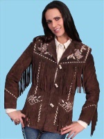ZSold Scully Ladies' Leather Suede Jacket:Fancy Embroidered Suede w Fringe XS-2XL SOLD