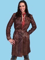 ZSold Scully Ladies' Leather Jacket: Coat Trench Style Antique Brown SOLD OUT