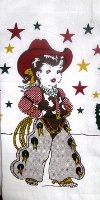 ZSold Red and White Kitchen Flour Sack Towel: Little Cowgirl SOLD