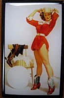 ZSold Lucy Lu Designs Slide Box Mint: Pinup Cowgirl in Red SOLD