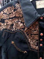 A Scully Ladies' Vintage Western Shirt: The Gunfighter Black with Rust XS-2XL