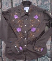 ZSold Rockmount Ranch Wear Ladies' Vintage Western Shirt: Fancy Brown with Purple Mumms M SOLD
