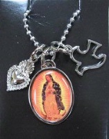 A SALE Lucy Lu Designs Bijoux Charm Necklace: Lady of Guadalupe Oval SALE
