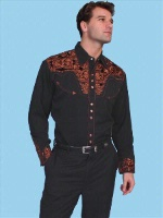 Scully Men's Vintage Western Shirt: The Gunfighter Black & Rust