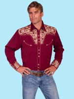 ZSold Scully Men's Vintage Western Shirt: The Gunfighter Burgundy with Gold Big/Tall 4X SOLD