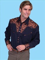 ZSold Scully Men's Vintage Western Shirt: The Gunfighter Navy with Rust S-4XL SOLD