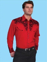Scully Men's Vintage Western Shirt: The Gunfighter Red with Black S-2X Big/Tall 3X-4X