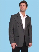 ZSold Scully Men's Jacket: Western Blazer Classic Charcoal w Black Trim Regular and Big/Tall SOLD