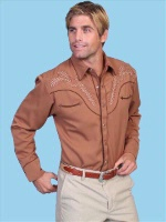ZSold Scully Men's Vintage Western Shirt: Embroidery Design Ivory and Brown Big/Tall 3X-4X SOLD