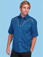 ZSold  Scully Men's Vintage Western Shirt:Short Sleeve Embroidery Design on Blue S-L SOLD
