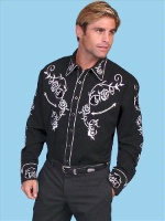 Scully Men's Vintage Western Shirt: Fancy Roses Silver on Black S-2X Big/Tall 3X-4X