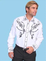 Scully Men's Vintage Western Shirt: Fancy Roses Black on White