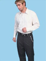 ZSold Scully Men's Dress Western Tab Pant: Black w White Piping Pinstripe 32 SOLD
